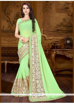 Staggering Net Sea Green Embroidered Work Saree