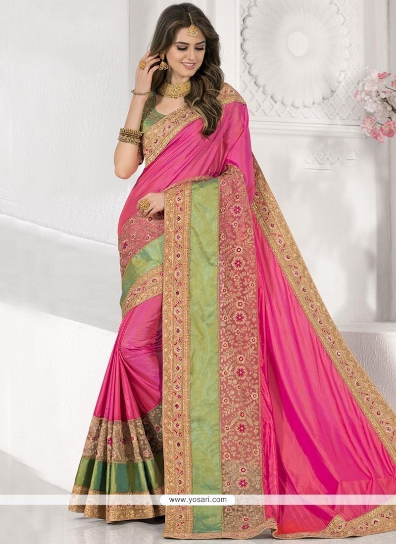 Fine Hot Pink Art Silk Traditional Saree