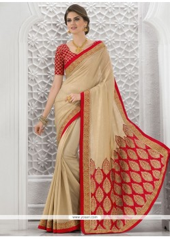 Royal Beige And Red Resham Work Bhagalpuri Silk Traditional Designer Saree