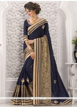 Magnificent Bhagalpuri Silk Navy Blue Designer Traditional Saree