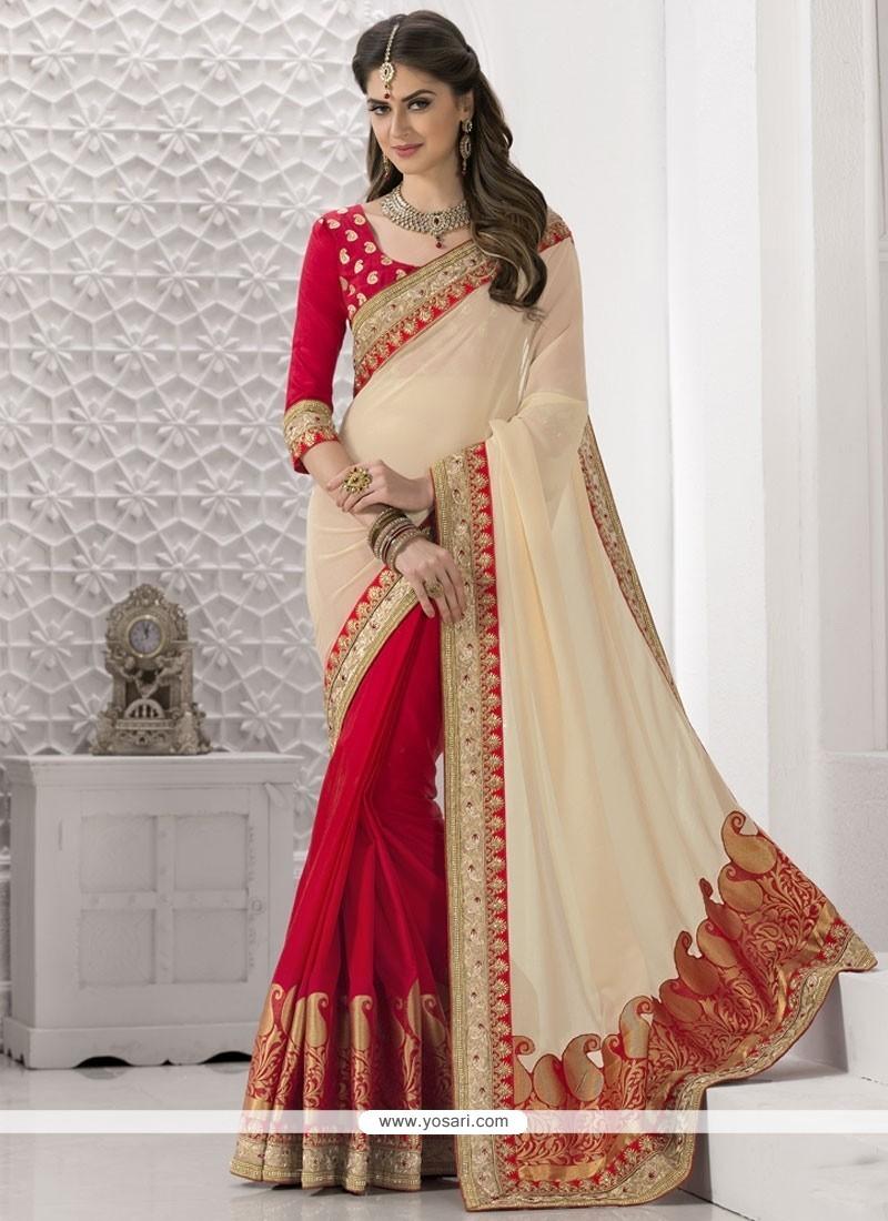 Latest Beige And Red Designer Half N Half Saree