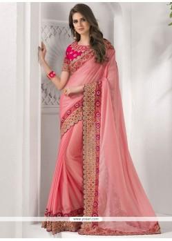 Attractive Chiffon Satin Pink Patch Border Work Classic Saree