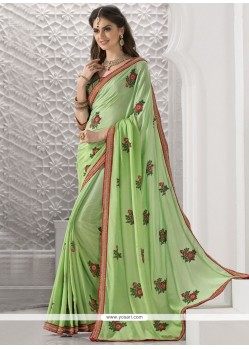 Savory Sea Green Patch Border Work Faux Crepe Classic Saree