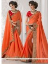 Trendy Patch Border Work Faux Crepe Classic Designer Saree