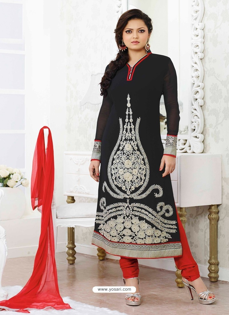 Black And Red Georgette Pakistani Suits