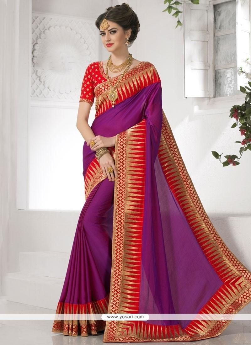 Entrancing Purple Resham Work Faux Crepe Designer Saree
