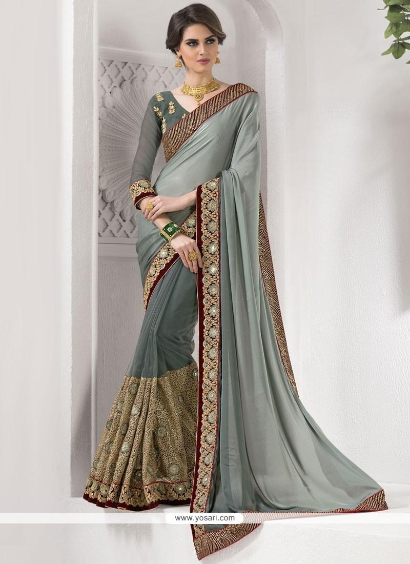Fashionable Satin Classic Saree