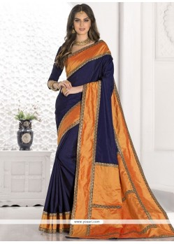 Sonorous Navy Blue Zari Work Designer Traditional Saree