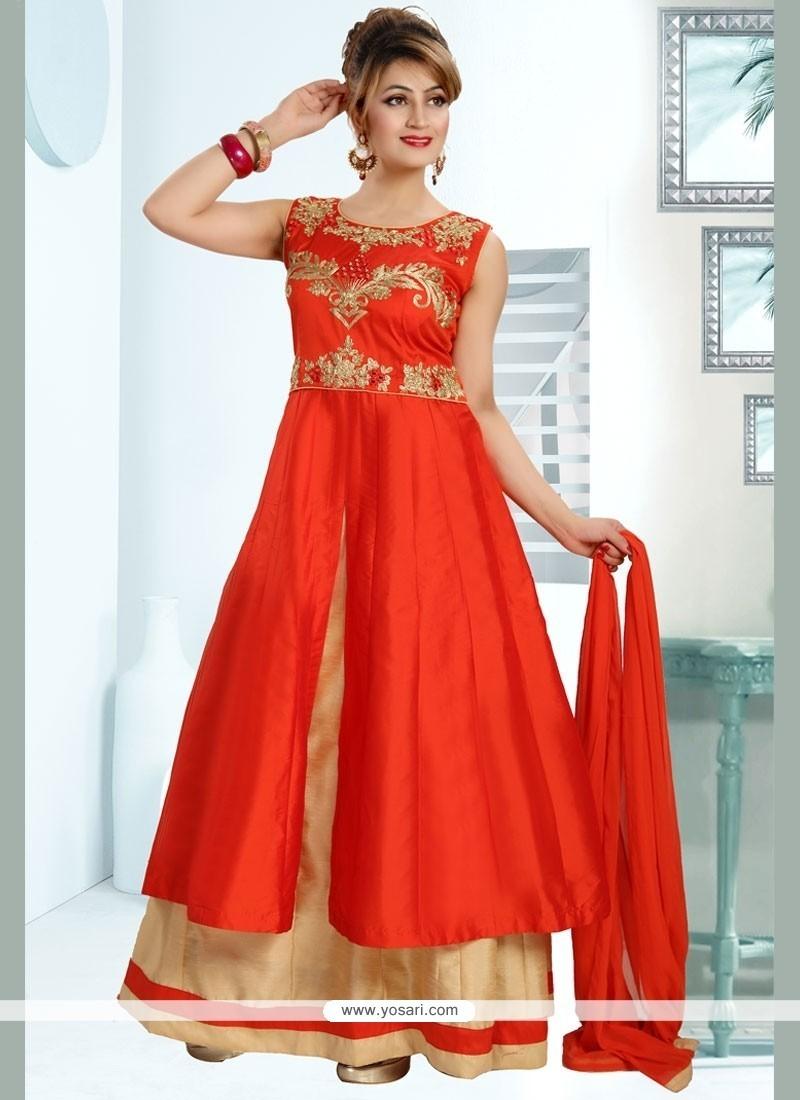Innovative Embroidered Work Art Silk Readymade Anarkali Suit