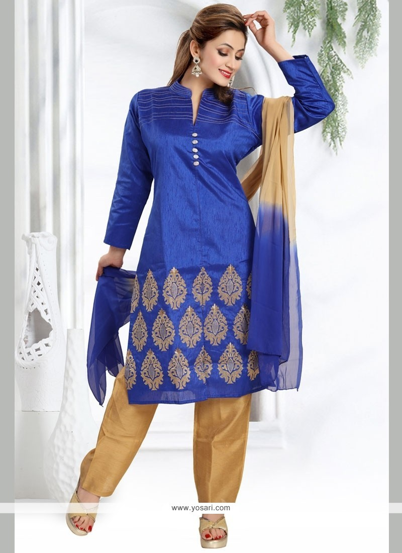 Transcendent Art Silk Readymade Churidar Salwar Kameez
