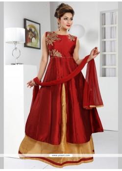 Stunning Art Silk Maroon Readymade Anarkali Suit