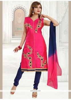 Mystic Hot Pink Embroidered Work Readymade Churidar Salwar Kameez