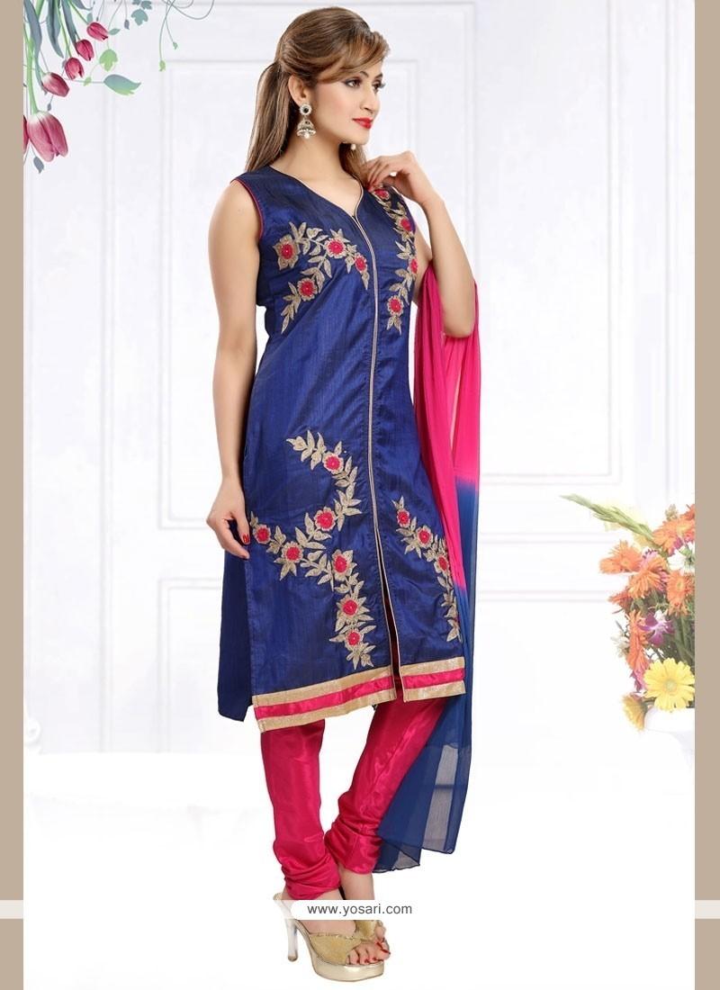 Gleaming Art Silk Blue Readymade Churidar Salwar Kameez