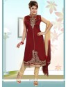 Lavish Embroidered Work Art Silk Maroon Readymade Churidar Salwar Kameez
