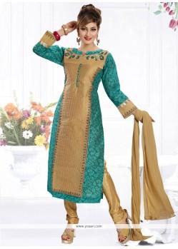 Tiptop Beige And Sea Green Readymade Churidar Salwar Kameez