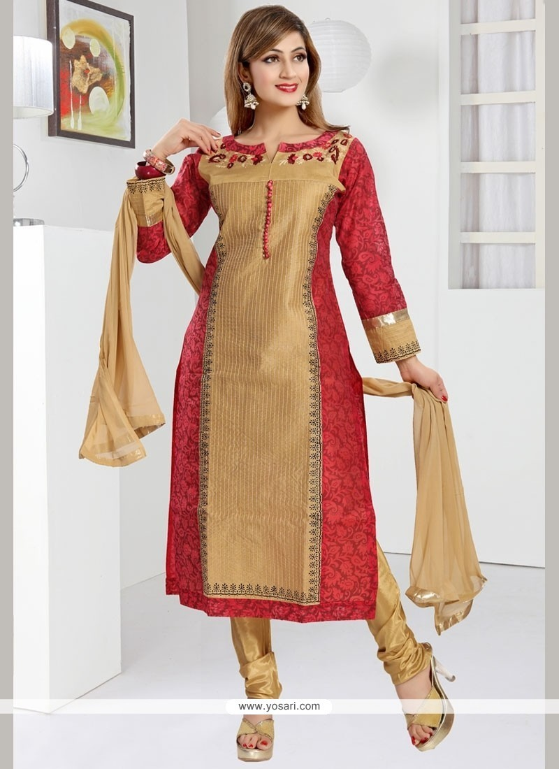 Beige And Red Art Silk Readymade Churidar Suit