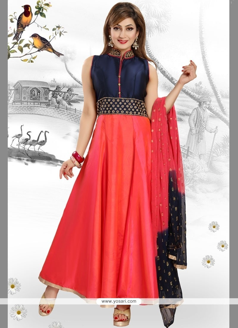 Fashionable Navy Blue And Red Embroidered Work Readymade Anarkali Salwar Suit