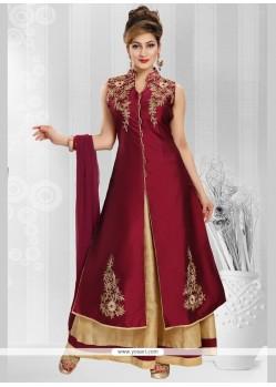 Preferable Maroon Art Silk Readymade Anarkali Suit