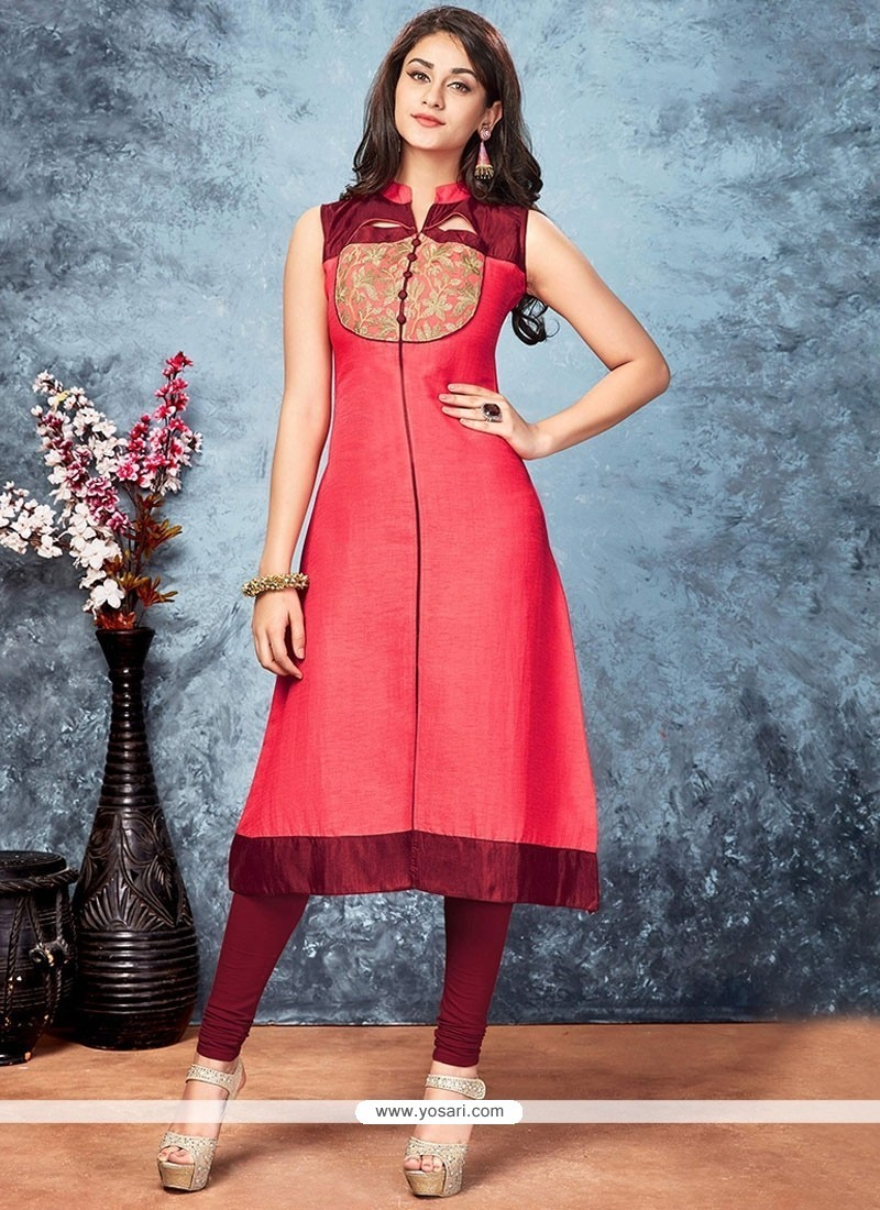97714325b51 Buy Observable Embroidered Work Art Silk Party Wear Kurti