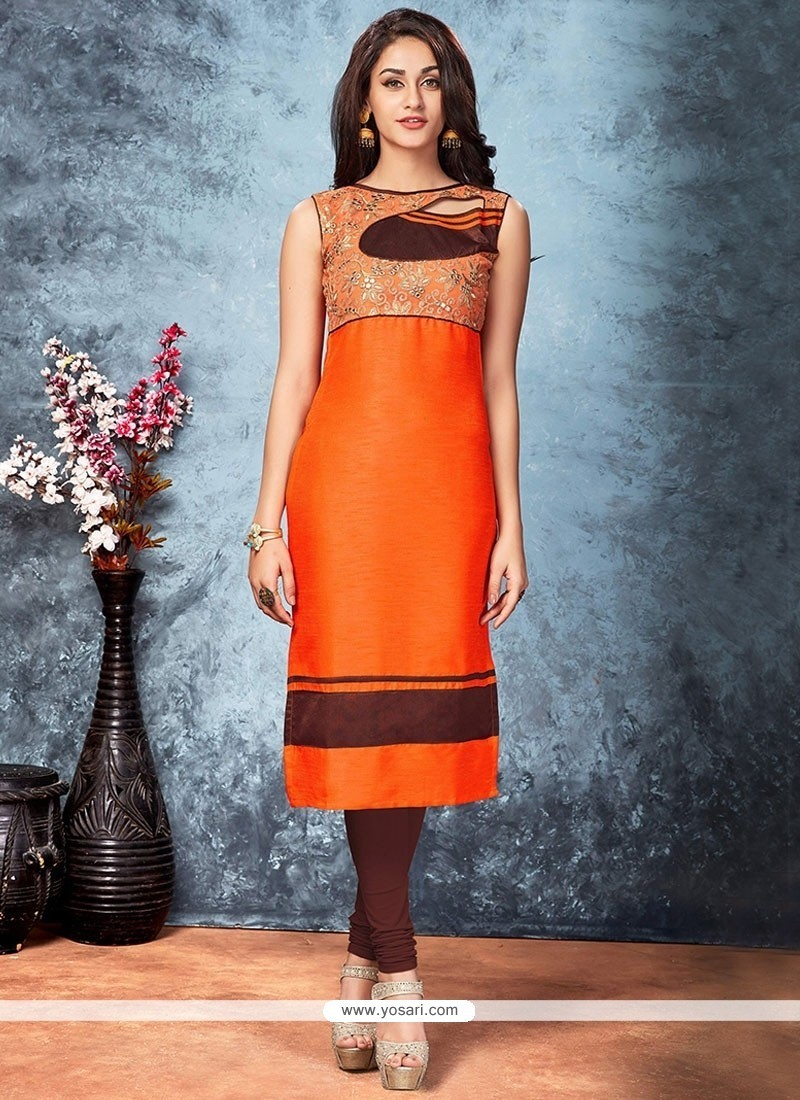 Brilliant Embroidered Work Orange Art Silk Party Wear Kurti