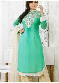 Green And Cream Georgette Pakistani Suits