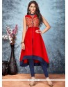 Mod Embroidered Work Red Party Wear Kurti