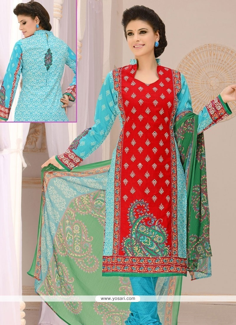 Eye-catchy Cotton Blue And Red Churidar Suit