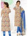 Girlish Mirror Work Cotton Churidar Suit