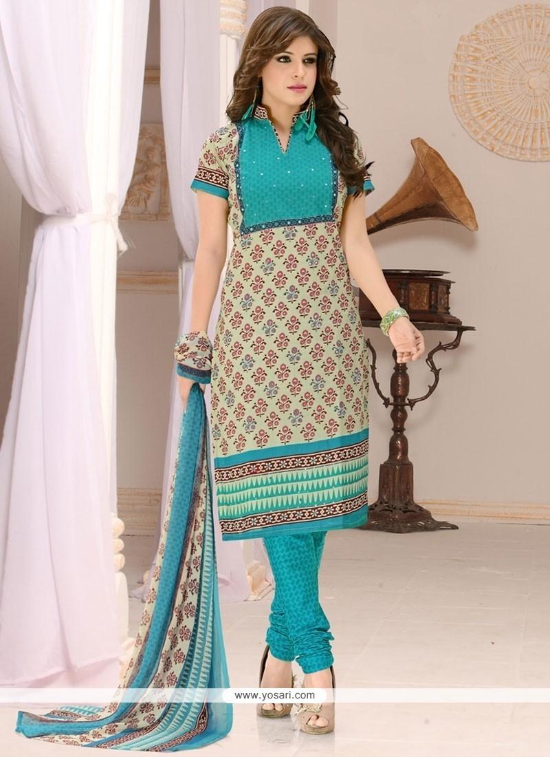 Charming Digital Print Work Beige And Blue Cotton Churidar Suit