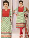 Epitome Digital Print Work Green And Red Cotton Churidar Suit
