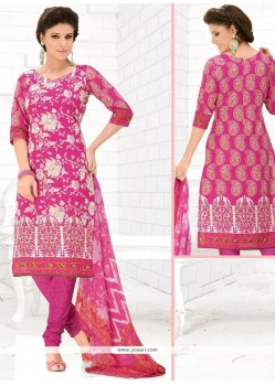 Ethnic Mirror Work Cotton Hot Pink Churidar Suit