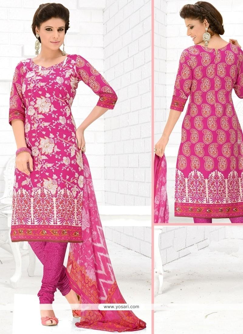 Ethnic Mirror Work Cotton Hot Pink Churidar Suit