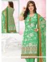 Gripping Digital Print Work Cotton Green Churidar Suit