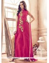 Aesthetic Banarasi Silk Hot Pink Embroidered Work Pant Style Suit