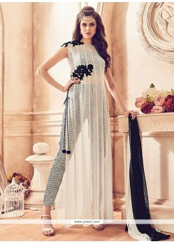 Innovative Embroidered Work Off White Pant Style Suit