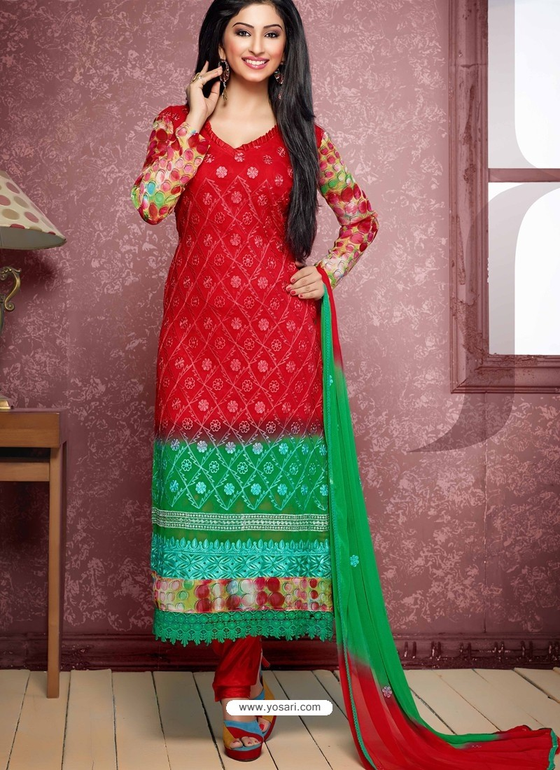 Red And Green Pure Chiffon Churidar Suit