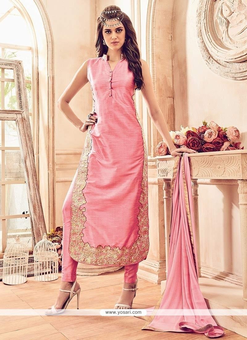 Enthralling Pink Banarasi Silk Churidar Designer Suit