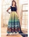 Intriguing Print Work Multi Colour Bhagalpuri Silk Anarkali Salwar Kameez