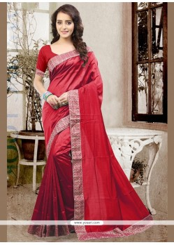 Magnetize Art Silk Red Patch Border Work Traditional Designer Saree