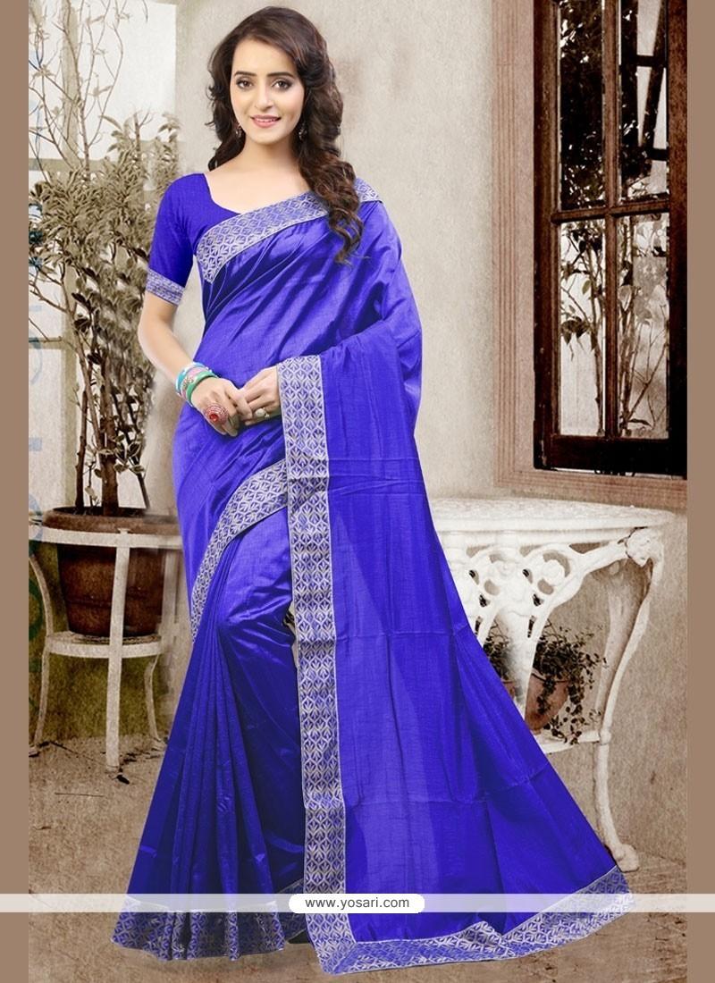 Congenial Blue Patch Border Work Art Silk Designer Traditional Saree