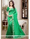 Tempting Green Patch Border Work Traditional Designer Saree