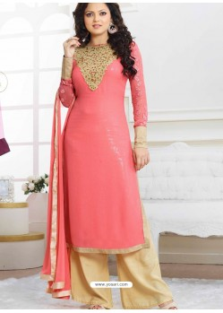 Pink And Cream Georgette Pakistani Suits