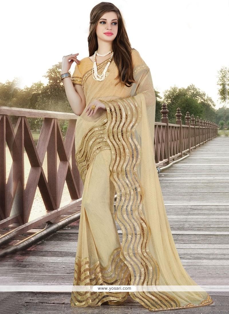 Pleasing Net Beige Sequins Work Saree