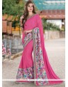 Nice Hot Pink Patch Border Work Faux Georgette Classic Saree
