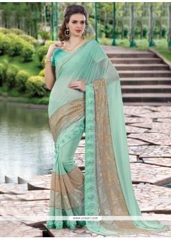 Nice Embroidered Work Turquoise Classic Designer Saree