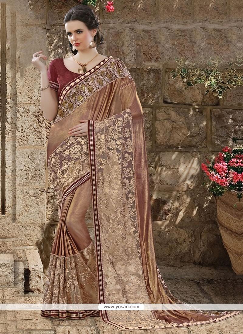 Cute Net Brown Embroidered Work Half N Half Designer Saree