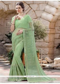 Honourable Sea Green Embroidered Work Classic Designer Saree