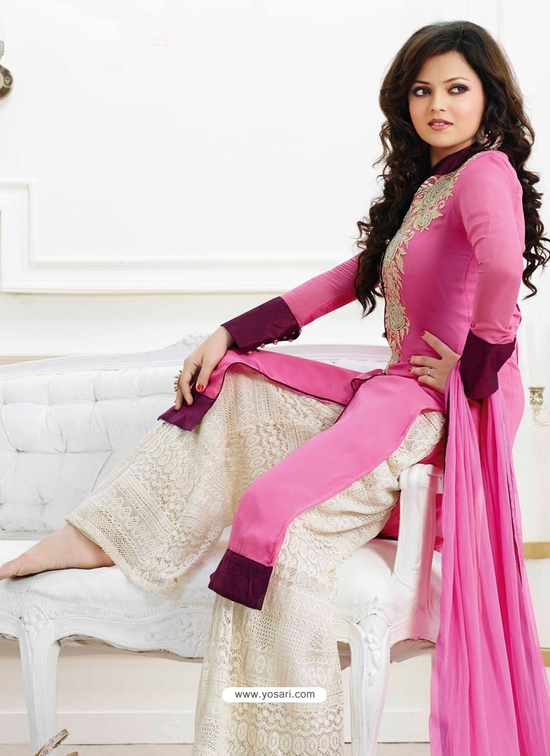 Pink And White Georgette Pakistani Suits