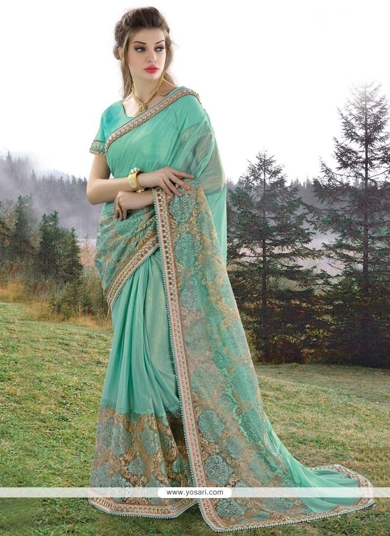 Stunning Georgette Turquoise Saree