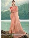 Hypnotizing Net Peach Embroidered Work Designer Saree